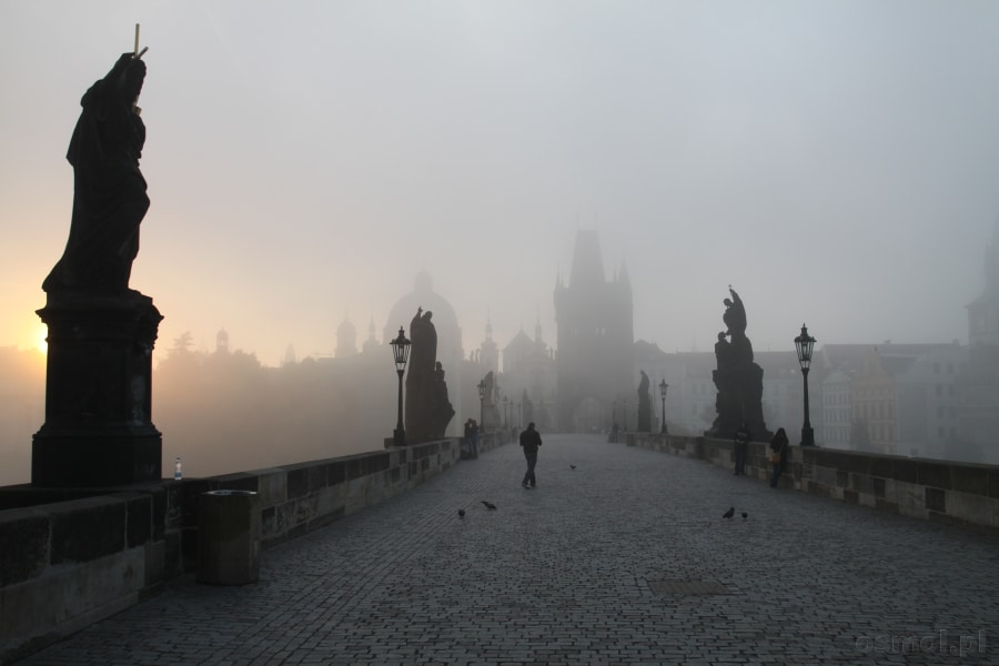 Praga. Most Karola o poranku tonie we mgle