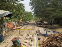 Bambusowy pociąg w Battambang w Kambodży