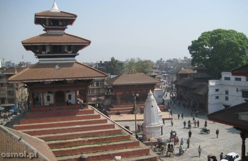 Widok z góry na świątynie w Katmandu