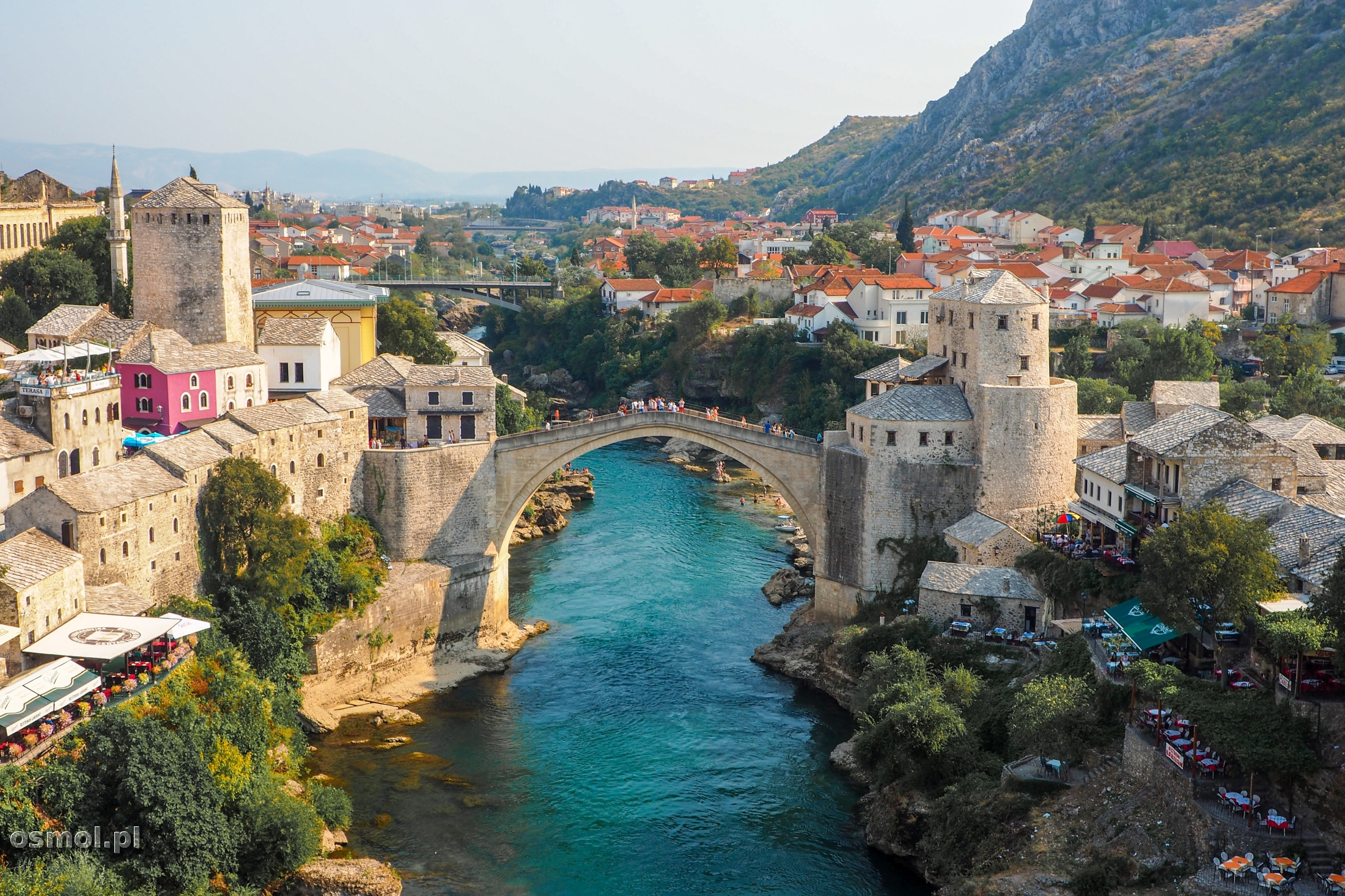 Widok na Mostar i Stary Most