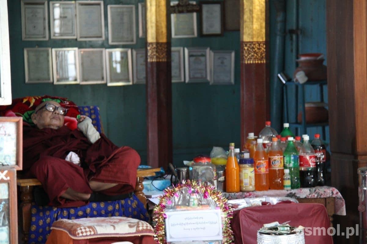Świątynia Skaczących Kotów. Koty tu już nie skaczą, a i mnisi po prostu czekają w wygodnej pozie na ofiary od wiernych.