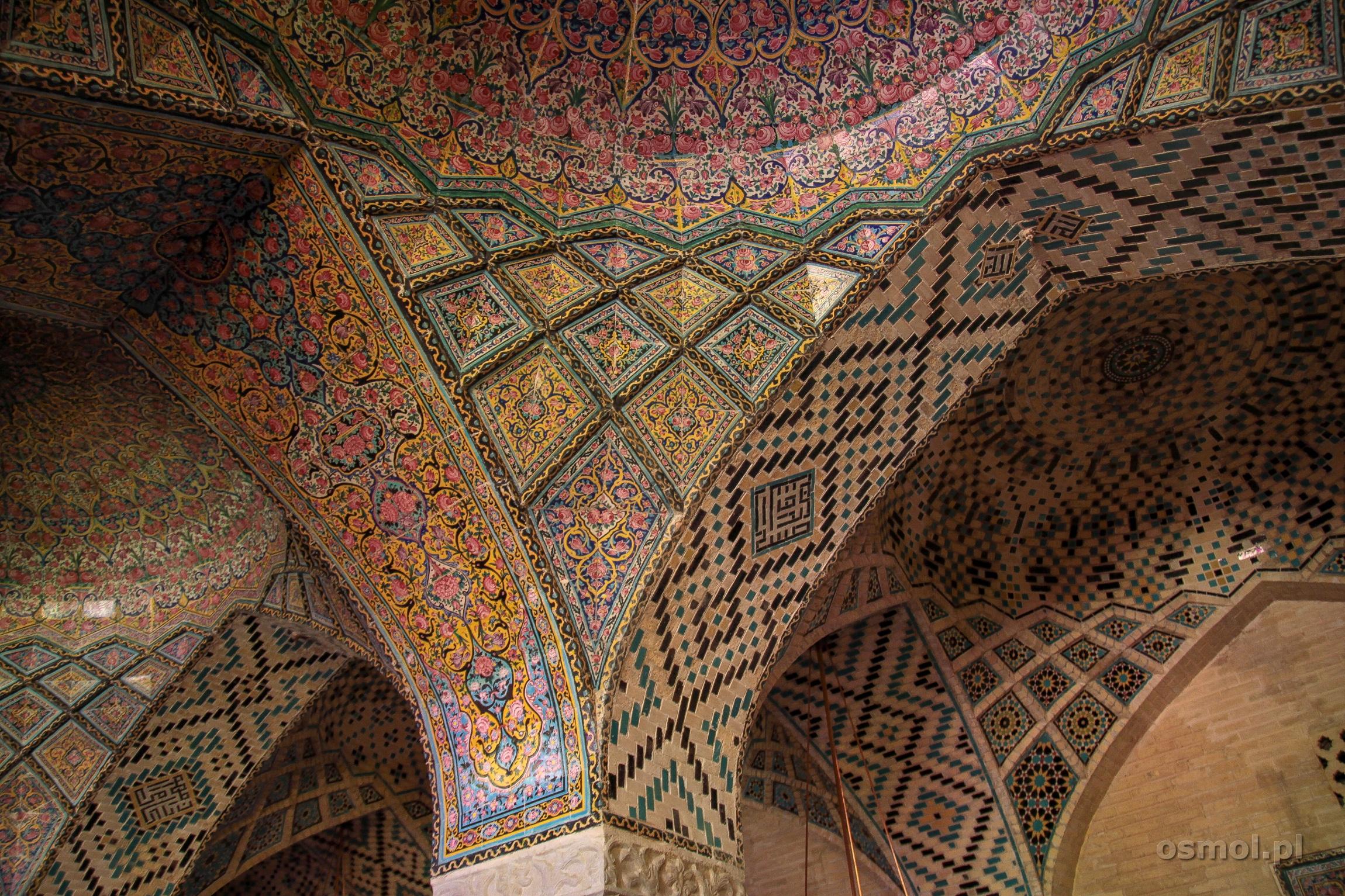 Mozaiki w Różowym Meczecie Shiraz Iran