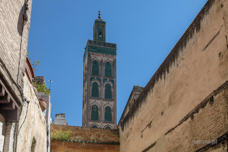 Minaret meczetu Andaluzyjskiego w Fezie