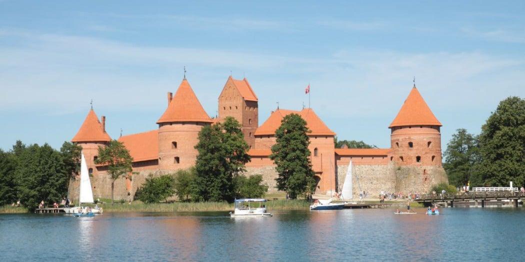 Panorama zamku w Trokach na Litwie