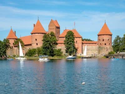 Widok na zamek w Trokach na Litwie