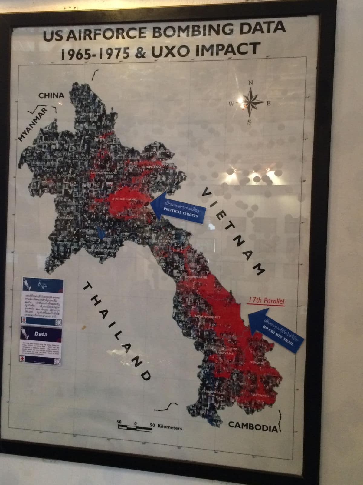 Mapa bombardowań Laosu podczas Tajnej wojny