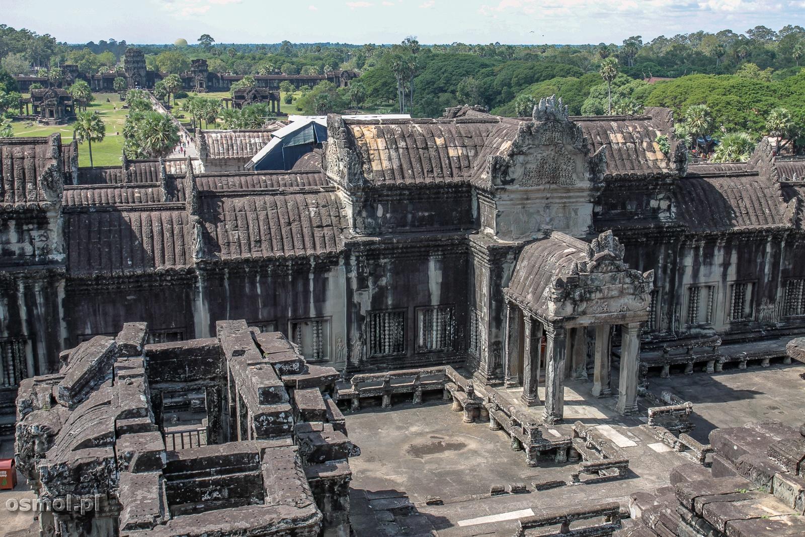 Świątynia Angkor Wat widziana z najwyższego poziomu