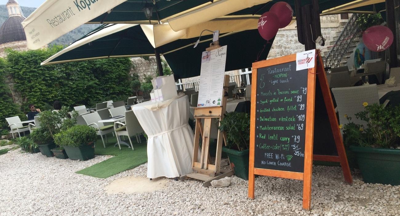 Menu przed restauracją w Chorwacji