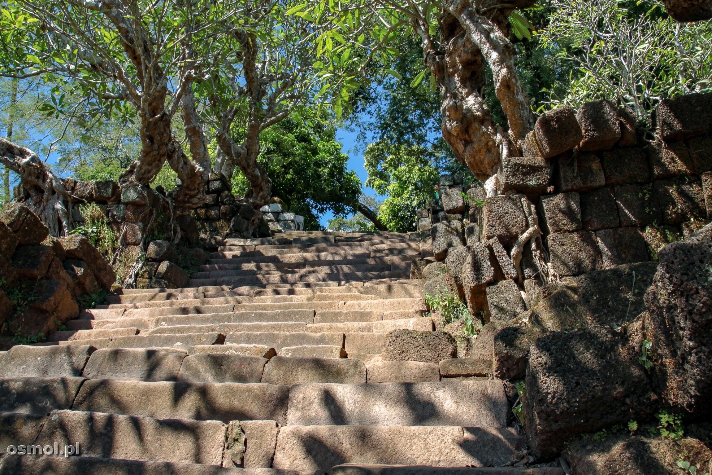 Schody wiodące do Wat Phou do wygodnych nie należą, ale prowadzą do wspaniałych widoków