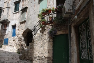kwiaty zdobiące jeden z budynków w Rovinj