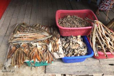 Suszone ryby w sklepie obok plaży w Birmie