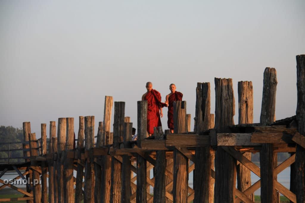 Mnisi Birma most U Bein w Birmie