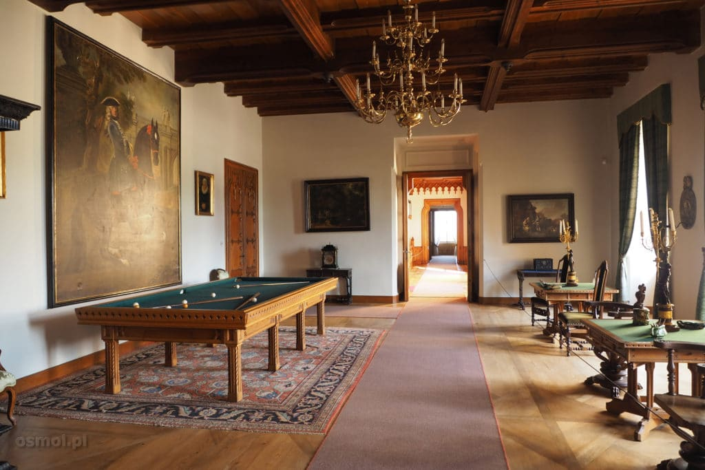 Sala bilardowa w pałacu w Lednicach