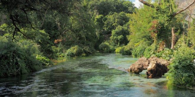 Rzeka Bystrzyca w Albanii obok Syri i Kalter (Niebieskiego Oka)