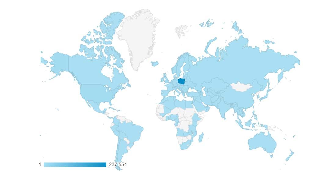 Mama krajów z których odnotowałem wejścia na bloga
