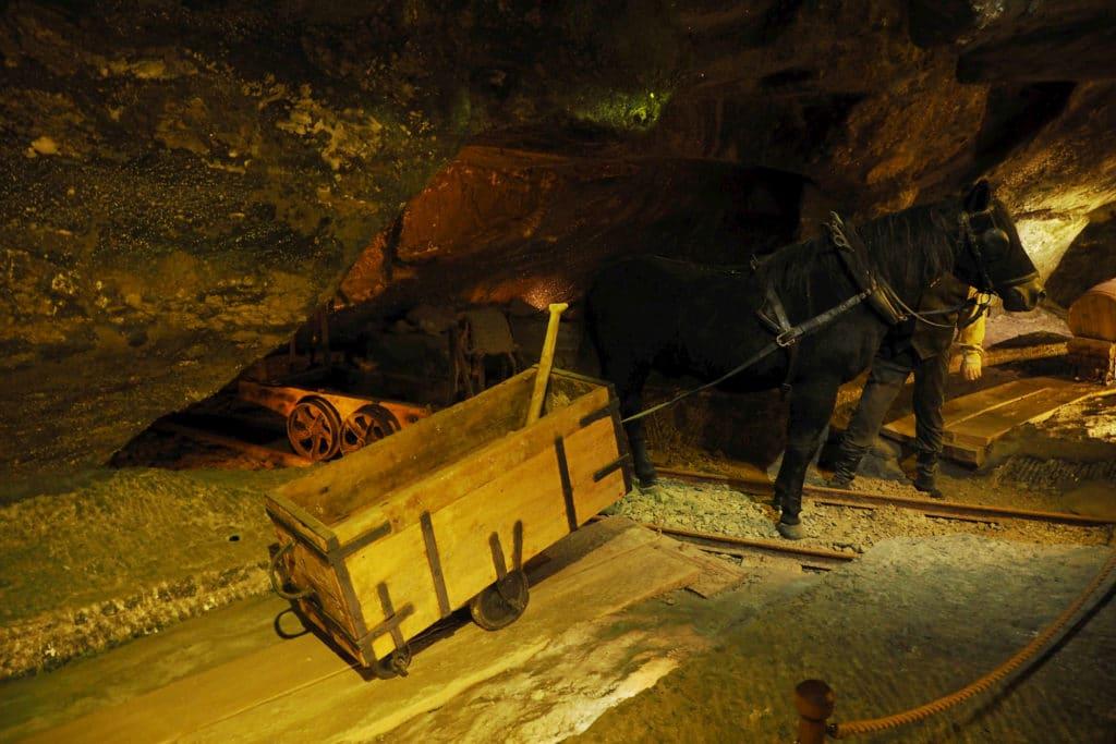 W późniejszych czasach urobek ciągnęły już opuszczane do kopalni konie