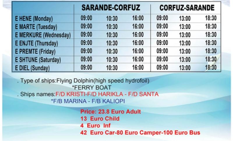 Przewoźnik promowy: Finikas z Korfu do Sarandy i z powrotem