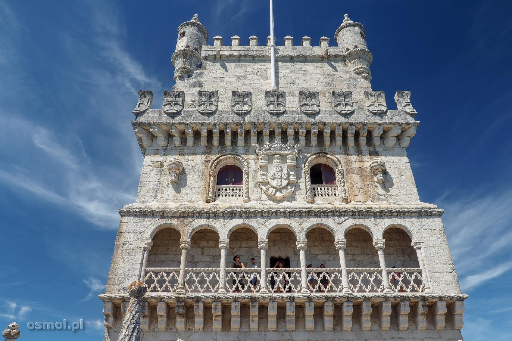 Zdobienia wieży Belem czyli Torre de Belém w Lizbonie.