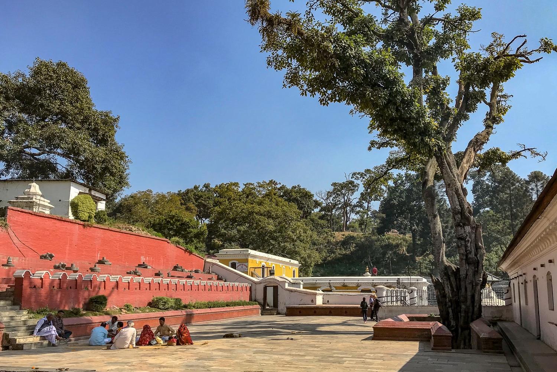 Na tyłach świątyni Paśupatinath. Po lewo siedzi rodzina i dokonują się postrzyżyny małego chłopca, a tuż koło drzewa są schody, prowadzące w dół, gdzie znajduje się kolejna mała świątynia.