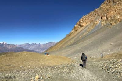 Na szlaku w Himalajach. W dół z przełęczy Thorong La. Cały dzień marszu w księżycowym krajobrazie.