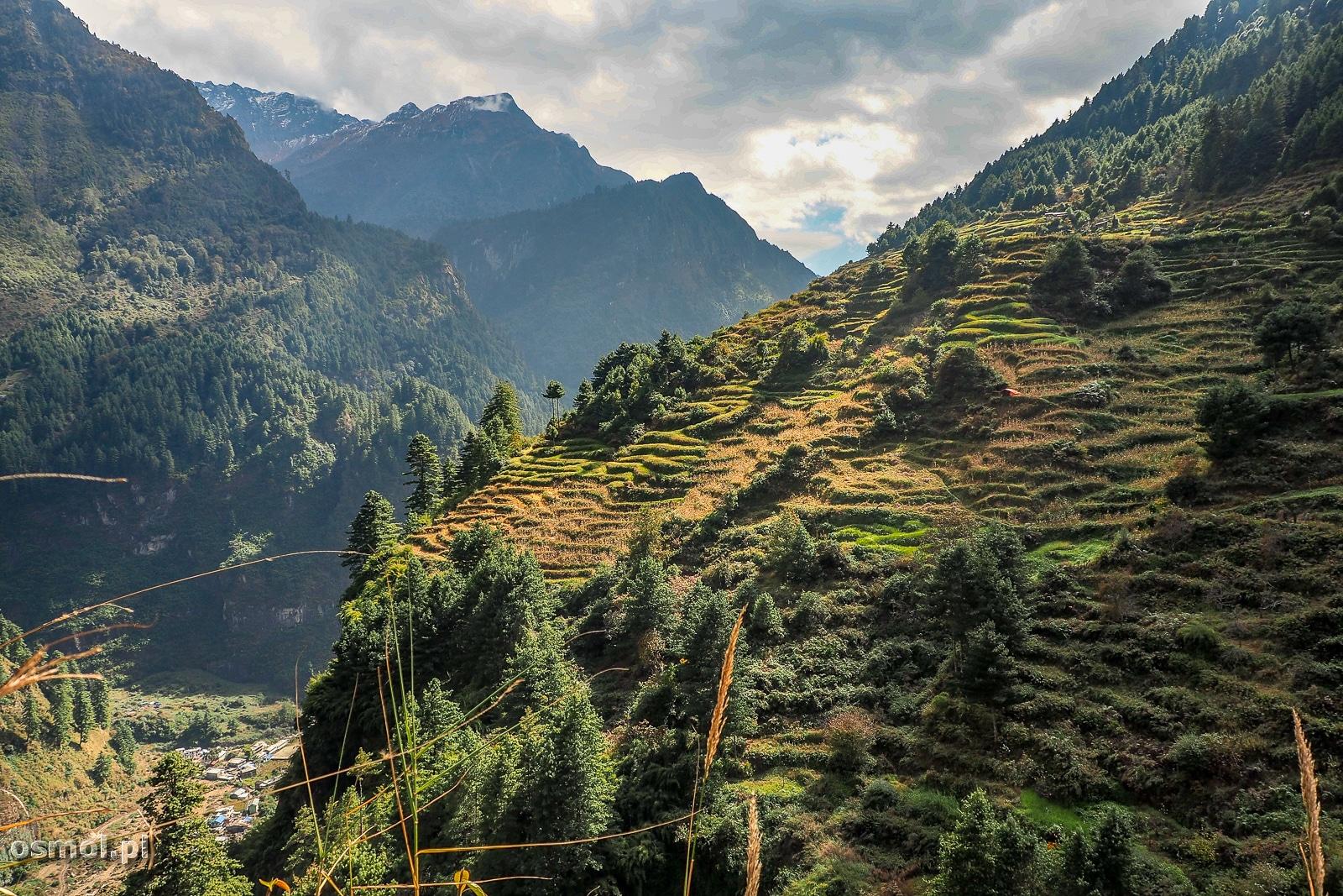 Wioska Odar w Himalajach widok na okolicę