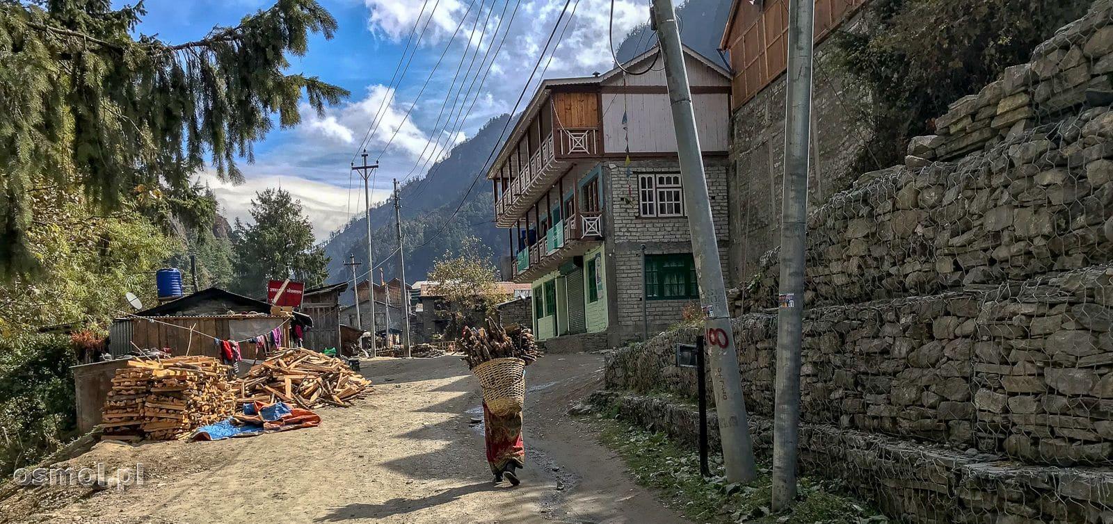Wychodząc z wioski Chame w Himalajach