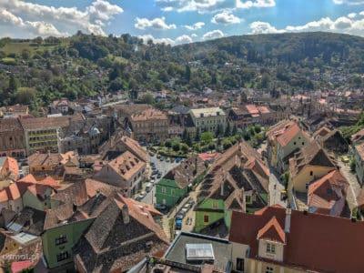 Widok z wieży na okolicę Sighișoary