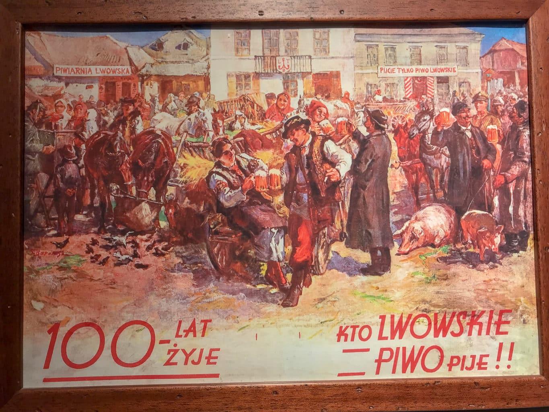 Plakat reklamowy lwowskiego piwa