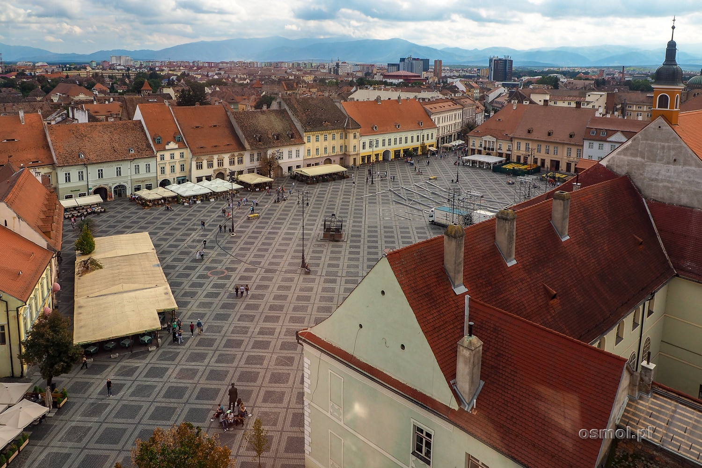 Widok na Duży Rynek w Sybinie z okien Wieży Ratuszowej