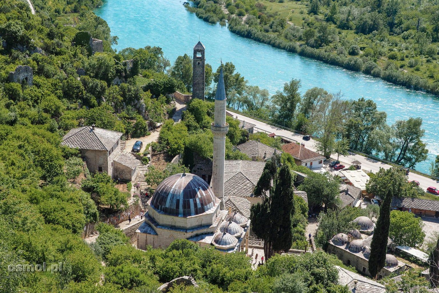 Pocitelj widok z zamku na Neretwę i wioskę