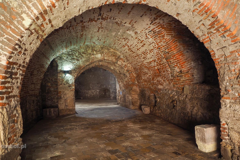 Ceglane wejście do baszty na zamku w Hunedoarze
