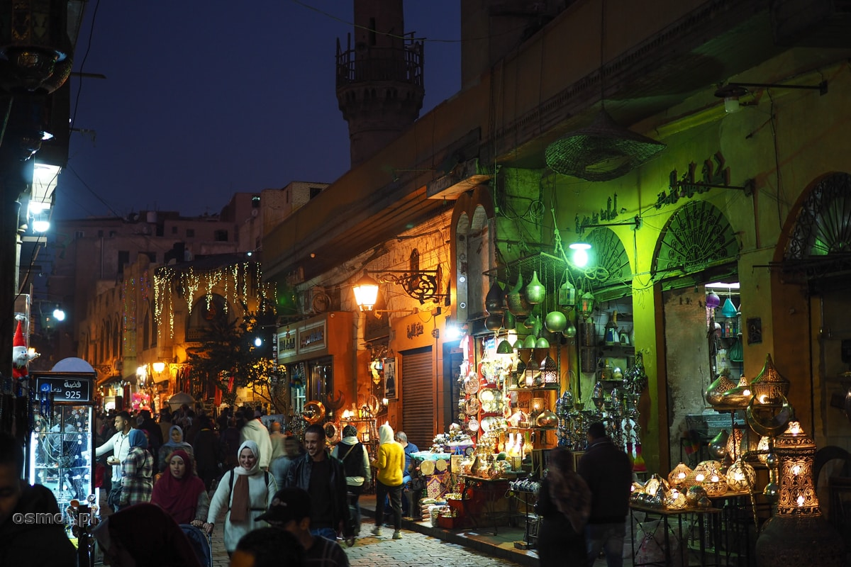 Dzielnica arabska nocą. Kair
