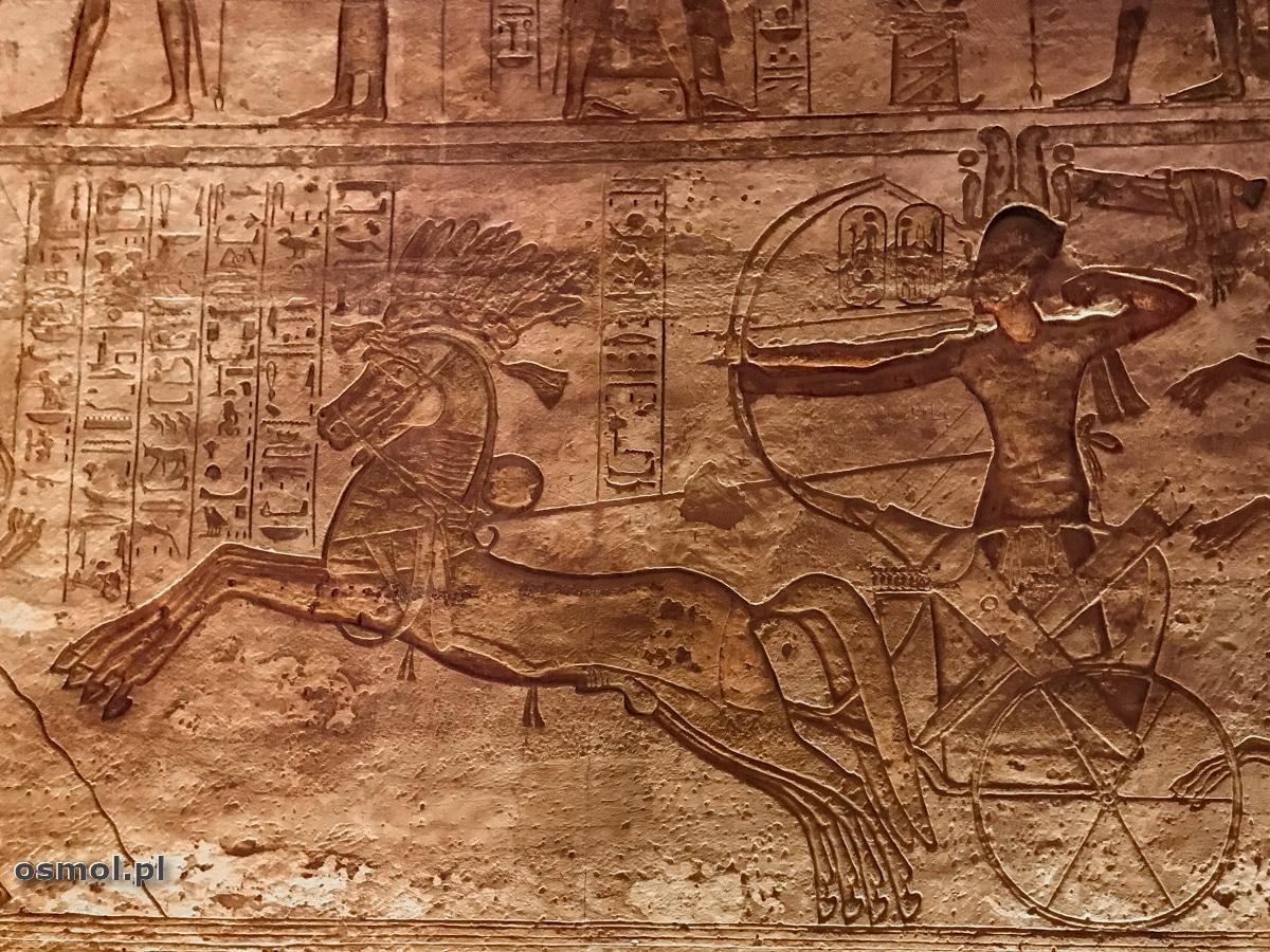 Łucznik na rydwanie przedstawiony w świątyni Abu Simbel