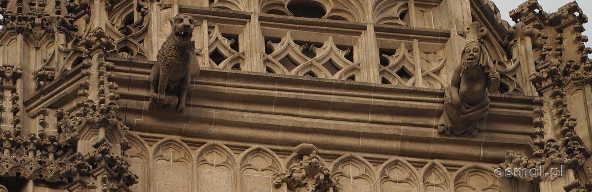 Gargulec w kształcie brzydkiej kobiety na katedrze św. Elżbiety w Koszycach