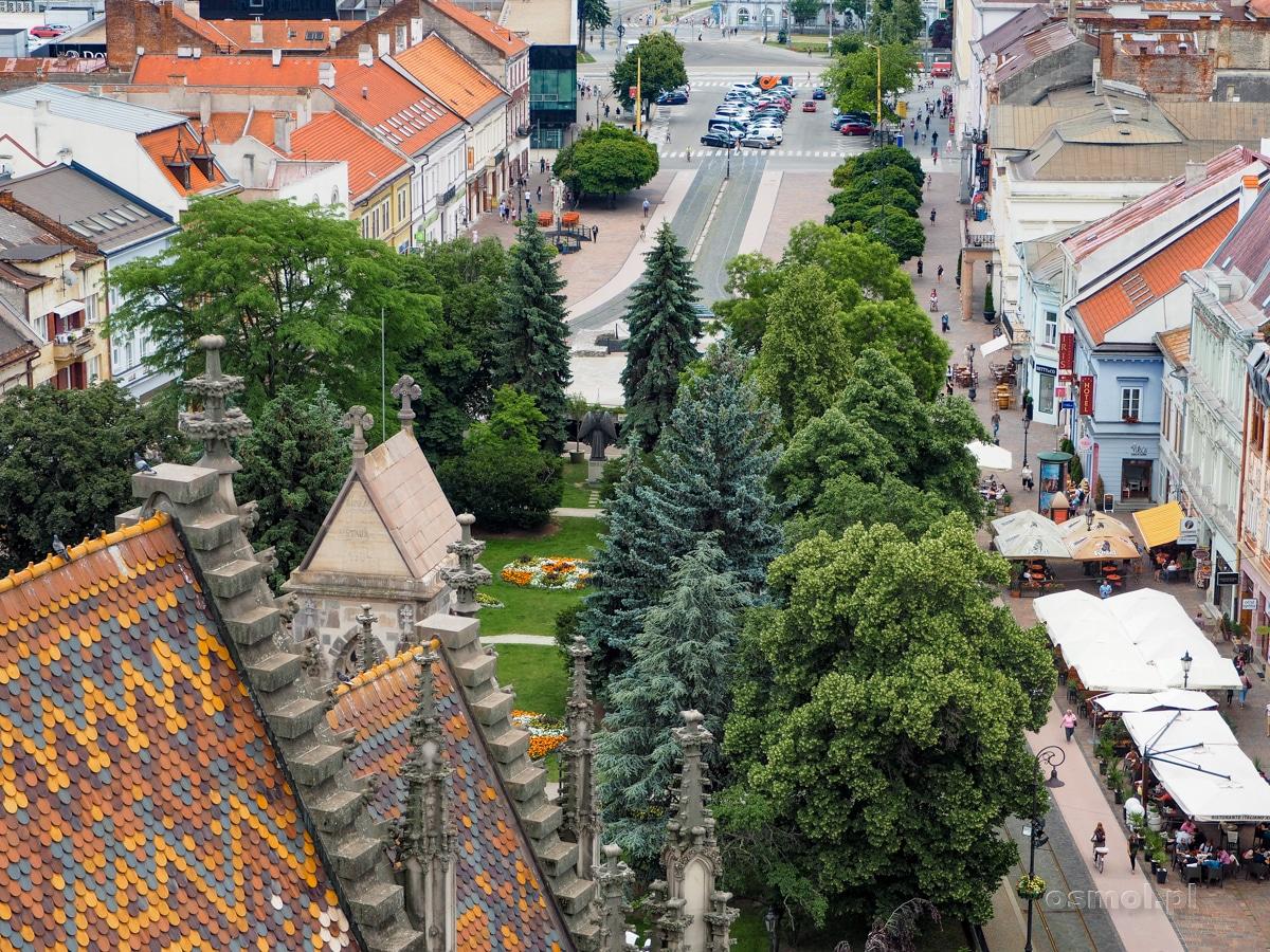 Dach katedry św. Elżbiety i ulica Główna w Koszycach