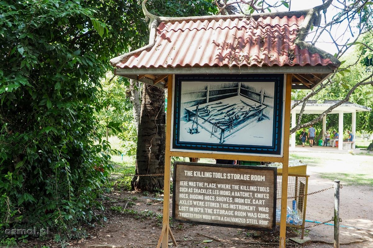 Tablica informacyjna z obrazowym pokazaniem na ilustracji, jakimi przedmiotami dokonywano egzekucji na Polach Śmierci