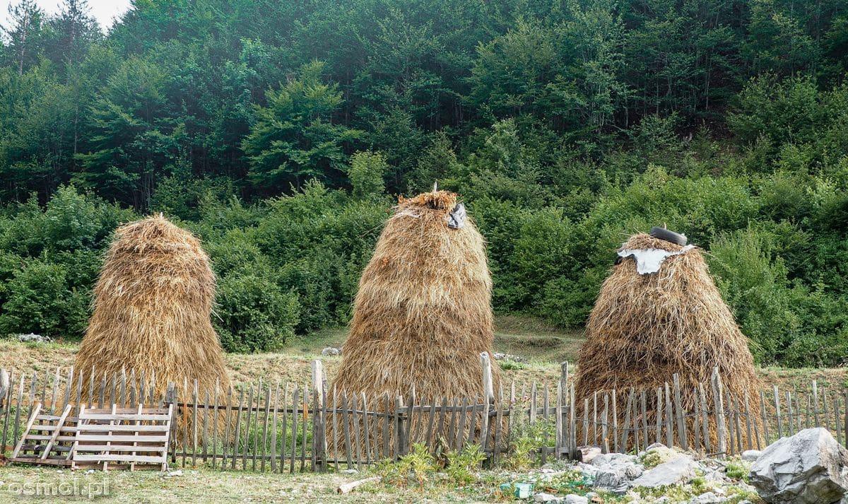 Charakterystyczne stogi siana w Górach Przeklętych w Albanii