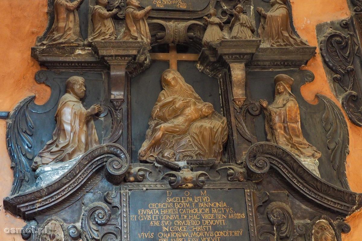 Alabastrowe rzeźby epitafia na południowej ścianie kaplicy Boimów
