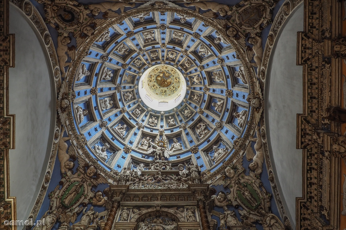 Sklepienie kaplicy Boimów wraz z ozdobną latarnią na szczycie. Warto zauważyć, że jeden z aniołków ostatniego rzędu odpadł z kasetonu.