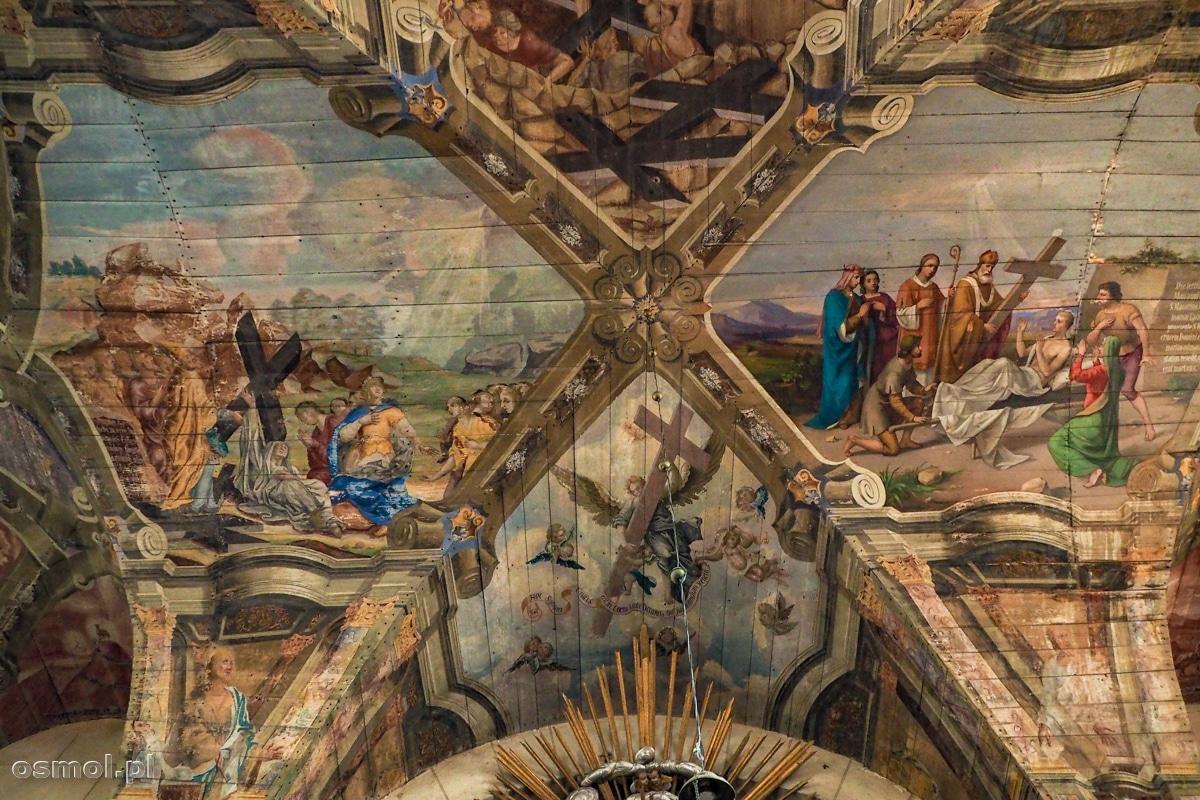 Legenda Krzyża Świętego to motyw przewodni polichromii zdobiącej kościół w Chwalęcinie
