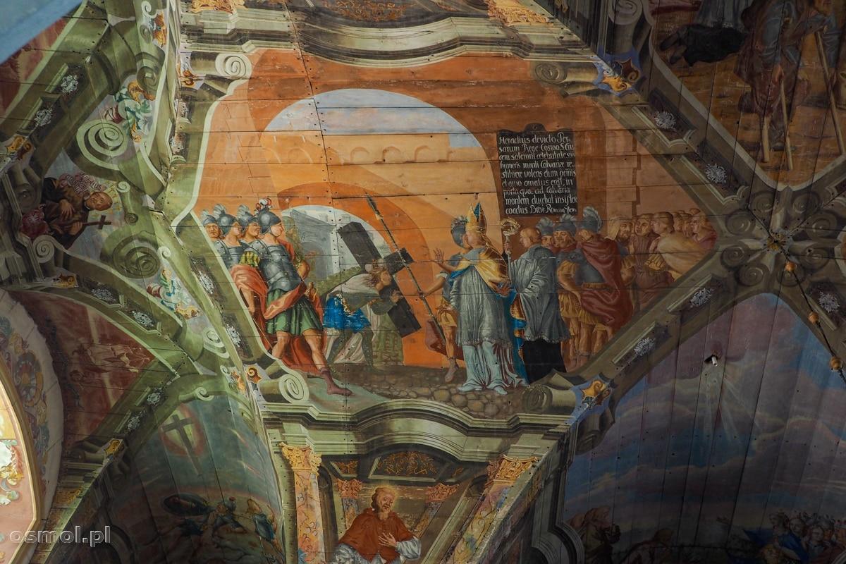 Polichromie na suficie i filarze sanktuarium w Chwalęcinie