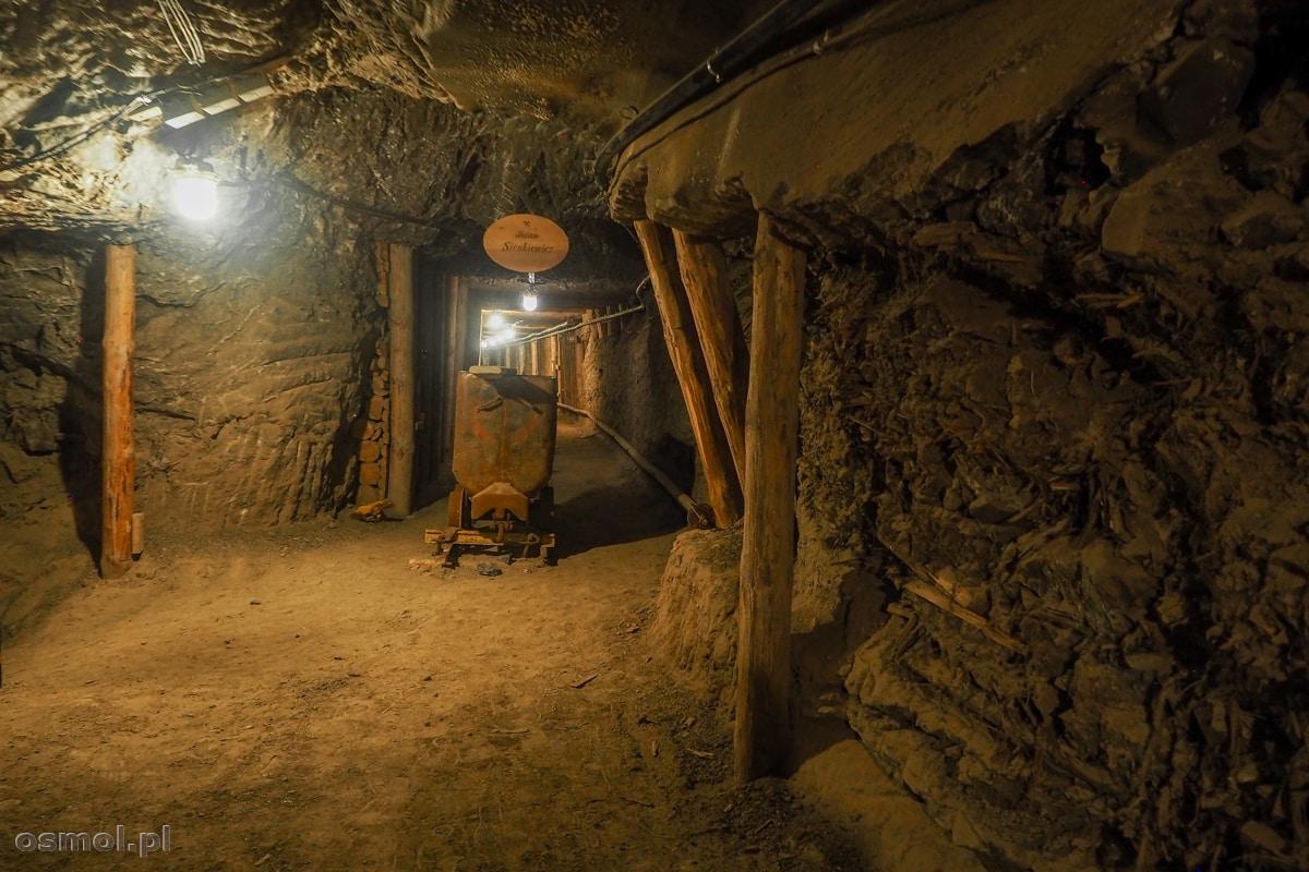 Podziemny korytarz i wagonik, którym kiedyś przewożono urobek w kopalni soli w Bochni