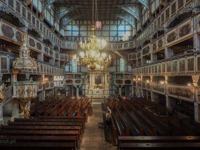 Kościół Pokoju w Jaworze. Widok na główną nawę