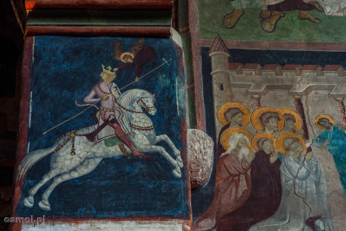 Władysław Jagiełło na koniu. Jeden z fresków w kaplicy w lubelskim zamku