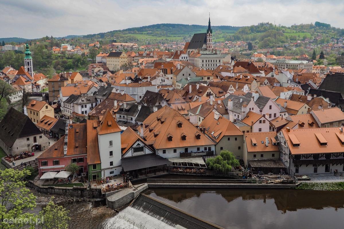 Panorama Czeskiego Krumlova widziana z Wysokiego Zamku
