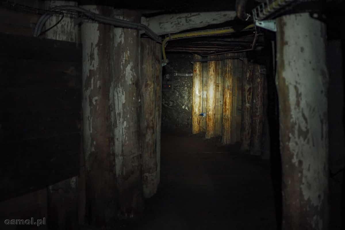 Jeden z korytarzy w kopalni. Jak widać ciemność rozświetla tylko światło lampy czołowej.