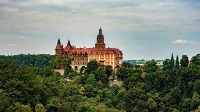 Zamek Książ widziany z punktu widokowego