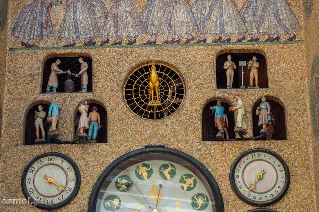 Socrealistyczne figurki nowej wersji zegara astronomicznego w Ołomuńcu