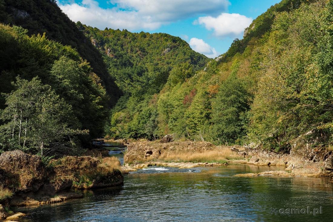 Tuż za wodospadem rzeka Una zwalnia bieg i płynie bardziej leniwie